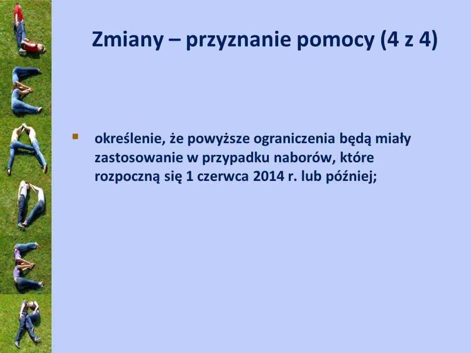 Zmiany – przyznanie pomocy (4 z 4) określenie, że powyższe ograniczenia będą miały zastosowanie w przypadku naborów, które rozpoczną się 1 czerwca 201