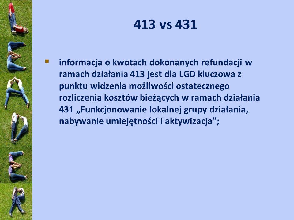 413 vs 431 informacja o kwotach dokonanych refundacji w ramach działania 413 jest dla LGD kluczowa z punktu widzenia możliwości ostatecznego rozliczen