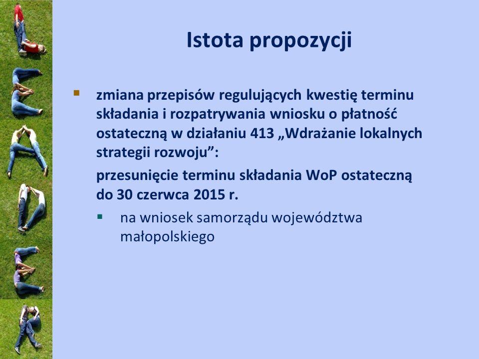 Istota propozycji zmiana przepisów regulujących kwestię terminu składania i rozpatrywania wniosku o płatność ostateczną w działaniu 413 Wdrażanie loka