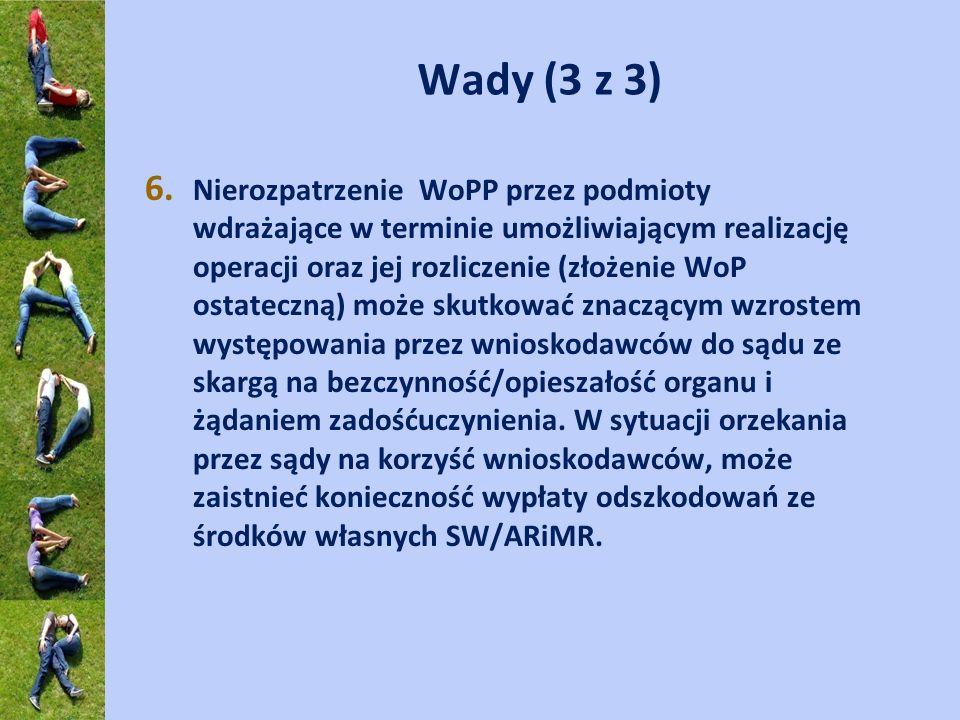 Wady (3 z 3) 6. Nierozpatrzenie WoPP przez podmioty wdrażające w terminie umożliwiającym realizację operacji oraz jej rozliczenie (złożenie WoP ostate