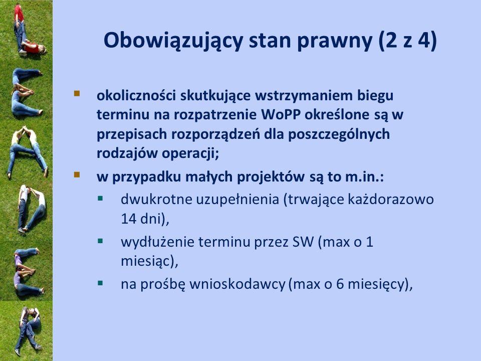 Obowiązujący stan prawny (2 z 4) okoliczności skutkujące wstrzymaniem biegu terminu na rozpatrzenie WoPP określone są w przepisach rozporządzeń dla po