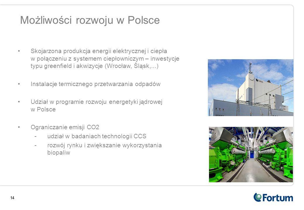 14 Możliwości rozwoju w Polsce 14 Skojarzona produkcja energii elektrycznej i ciepła w połączeniu z systemem ciepłowniczym – inwestycje typu greenfiel