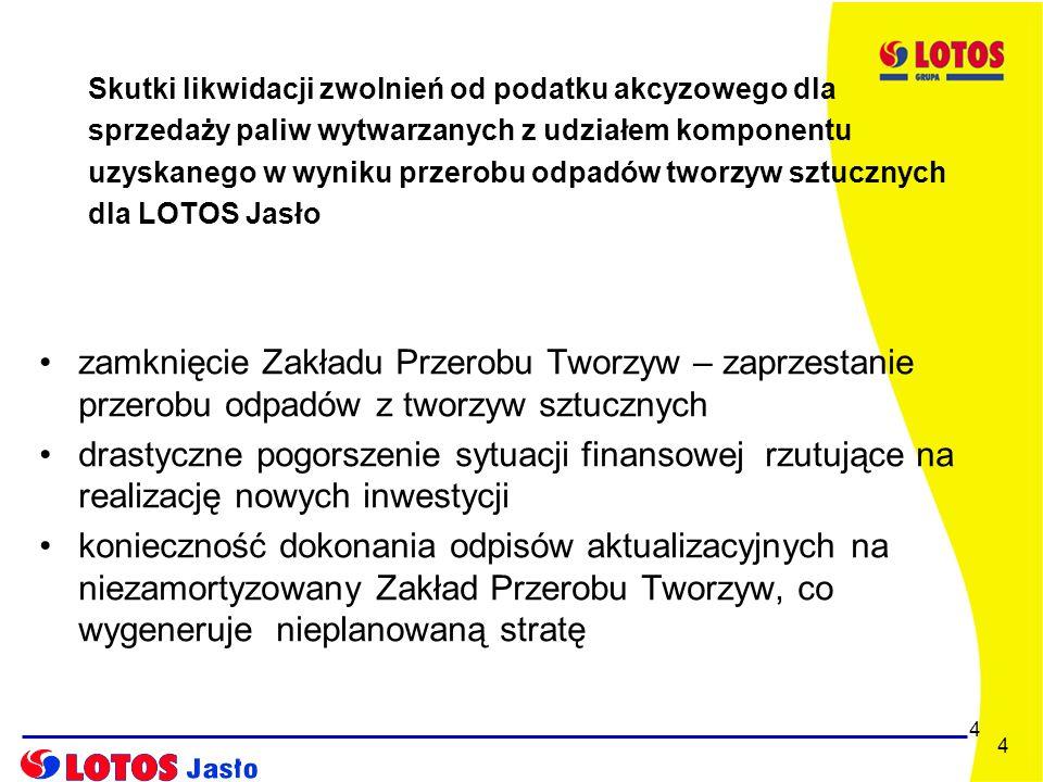 5 5 Pozostałe skutki likwidacji zwolnień od podatku akcyzowego - likwidacja około 20 firm kooperujących z LOTOS Jasło SA z obszaru całej Polski i zajmujących się przerobem odpadów z tworzyw sztucznych, dostarczających komponent KTSF do LOTOS Jasło - likwidacja około 200 firm na obszarze całej Polski zajmujących się zbiórką i segregacją odpadów z tworzyw sztucznych - pogorszenie stanu środowiska naturalnego spowodowane zwiększeniem ilości odpadów z tworzyw sztucznych na wysypiskach śmieci, które nie zostaną poddane recyklingowi - utrata pracy przez około 4000 osób zaangażowanych w łańcuchu recyklingu i odzysku odpadów z tworzyw sztucznych w całej Polsce