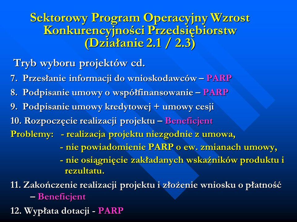 Sektorowy Program Operacyjny Wzrost Konkurencyjności Przedsiębiorstw (Działanie 2.1 / 2.3) Tryb wyboru projektów cd.