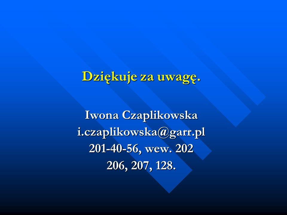Dziękuje za uwagę. Iwona Czaplikowska i.czaplikowska@garr.pl 201-40-56, wew. 202 206, 207, 128.