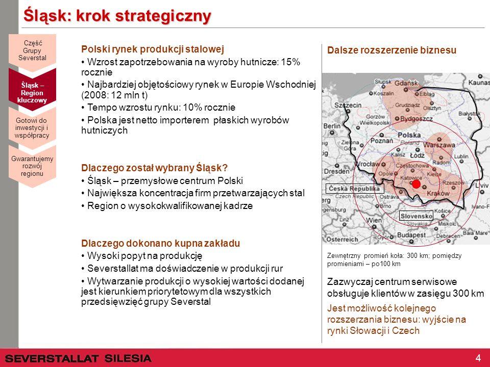 4 Śląsk: krok strategiczny Polski rynek produkcji stalowej Wzrost zapotrzebowania na wyroby hutnicze: 15% rocznie Najbardziej objętościowy rynek w Eur