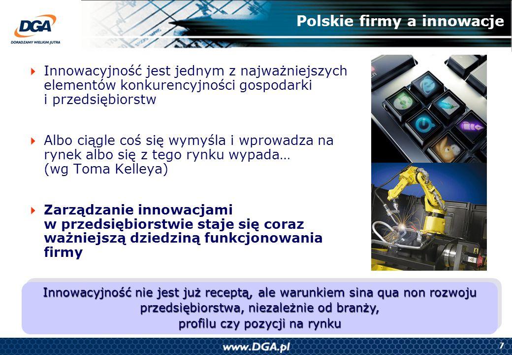 7 Polskie firmy a innowacje Innowacyjność jest jednym z najważniejszych elementów konkurencyjności gospodarki i przedsiębiorstw Albo ciągle coś się wy