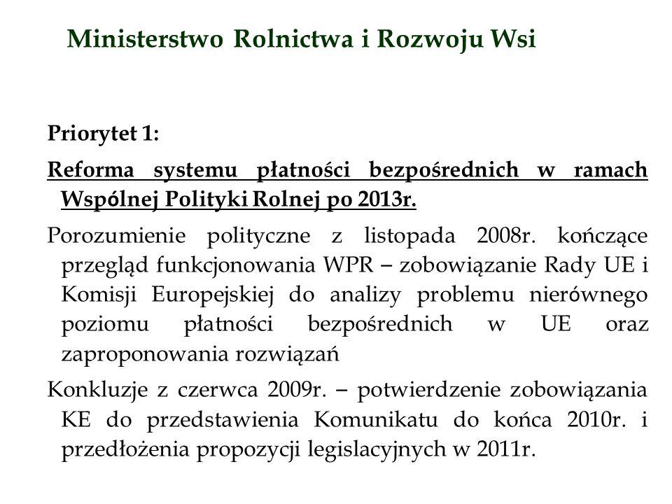 Priorytet 1: Reforma systemu płatności bezpośrednich w ramach Wsp ó lnej Polityki Rolnej po 2013r.