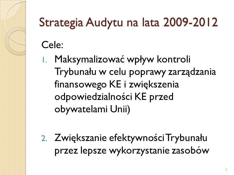 Strategia Audytu na lata 2009-2012 Cel 1rozpisany na szereg celów w następujących obszarach: - Optymalna i efektywna selekcja i planowanie kontroli, - Mocne konkluzje i użyteczne rekomendacje; - Szerszy wymiar kontroli; - Terminowe i użyteczne sprawozdania; - Efektywna komunikacja z partnerami (Parlament, Komisja, instytucje kontrolowane) 3