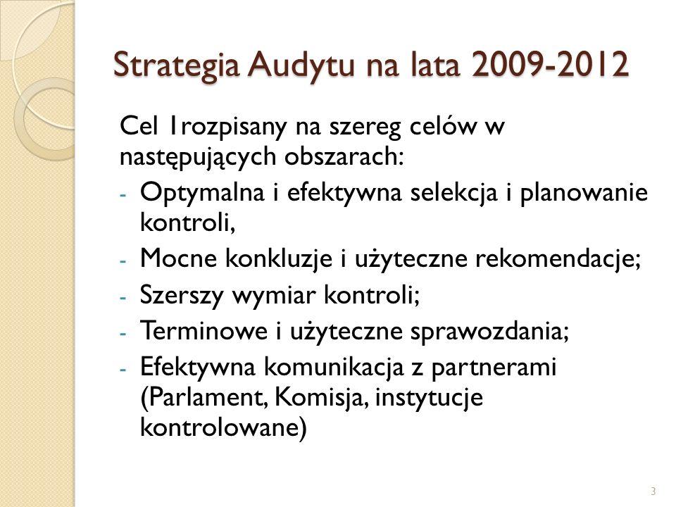 Strategia Audytu na lata 2009-2012 Cel 2 rozpisany na szereg celów w następujących obszarach: - Poprawa zarządzania Trybunałem; - Wdrożenie efektywnej i dynamicznej polityki zarządzania zasobami ludzkimi; - Racjonalizowanie zadań kontrolnych; - Zwiększanie zastosowań INA; - Rozwój profesjonalizmu kontrolerów - Rozwój relacji z instytucjami kontrolowanymi.