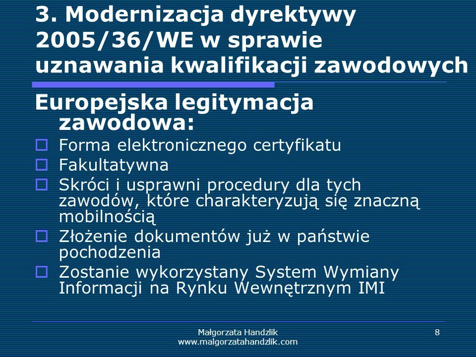 Małgorzata Handzlik www.malgorzatahandzlik.com 9 Przydatne linki Informacje dotyczące pakietu zawierającego środki do osiągnięcia wzrostu gospodarczego i sprzyjające tworzeniu miejsc pracy: ec.europa.eu/commission_2010- 2014/andor/headlines/news/2012/04/20120418_en.htm Horyzont 2020: ec.europa.eu/research/horizon2020/index_en.cfm?pg=ho me&video=none Program COSME: ec.europa.eu/cip/cosme/index_en.htm Uznawanie kwalifikacji zawodowych – informacje dotyczące prac w Parlamencie Europejskim www.europarl.europa.eu/committees/pl/imco/subject- files.html?id=20120106CDT34925
