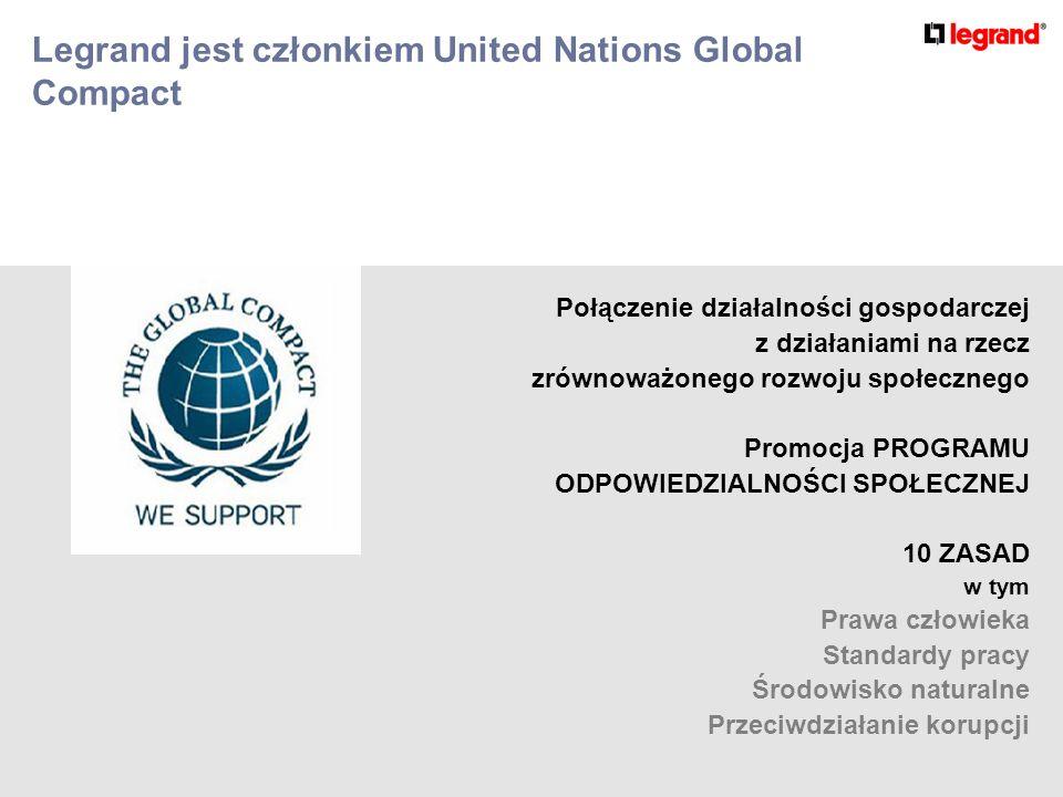 Legrand jest członkiem United Nations Global Compact Połączenie działalności gospodarczej z działaniami na rzecz zrównoważonego rozwoju społecznego Promocja PROGRAMU ODPOWIEDZIALNOŚCI SPOŁECZNEJ 10 ZASAD w tym Prawa człowieka Standardy pracy Środowisko naturalne Przeciwdziałanie korupcji