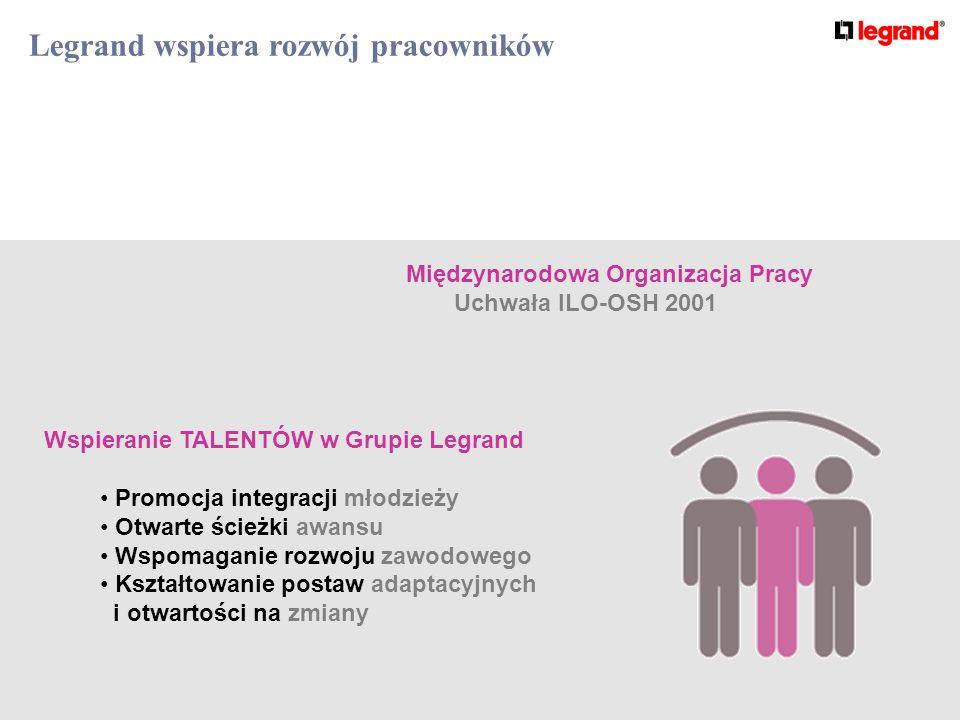 Legrand wspiera rozwój pracowników Międzynarodowa Organizacja Pracy Uchwała ILO-OSH 2001 Wspieranie TALENTÓW w Grupie Legrand Promocja integracji młodzieży Otwarte ścieżki awansu Wspomaganie rozwoju zawodowego Kształtowanie postaw adaptacyjnych i otwartości na zmiany