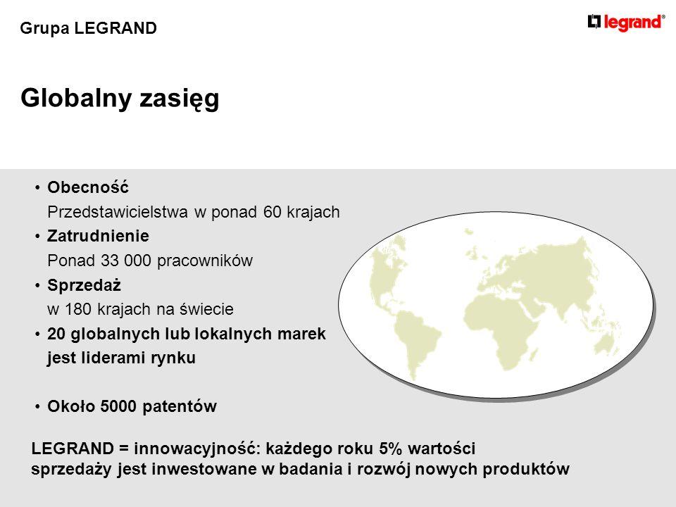 Grupa LEGRAND Globalny zasięg Obecność Przedstawicielstwa w ponad 60 krajach Zatrudnienie Ponad 33 000 pracowników Sprzedaż w 180 krajach na świecie 20 globalnych lub lokalnych marek jest liderami rynku Około 5000 patentów LEGRAND = innowacyjność: każdego roku 5% wartości sprzedaży jest inwestowane w badania i rozwój nowych produktów