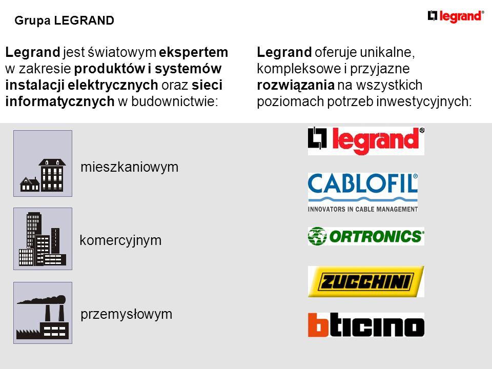 Legrand jest światowym ekspertem w zakresie produktów i systemów instalacji elektrycznych oraz sieci informatycznych w budownictwie: komercyjnym mieszkaniowym przemysłowym Legrand oferuje unikalne, kompleksowe i przyjazne rozwiązania na wszystkich poziomach potrzeb inwestycyjnych: Grupa LEGRAND