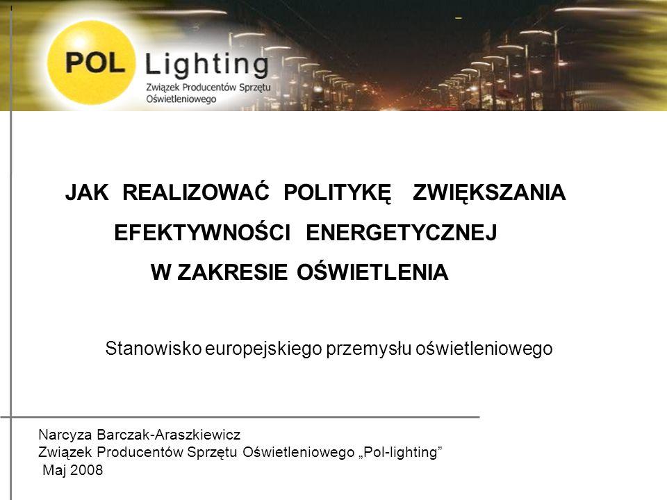 Warunek 3 Obowiązkowe zasady przy projektowania i wykonawstwa instalacji oświetleniowych (New Lighting Legislation) Przemysł oświetleniowy wnioskuje do KE o uchwalenie nowej dyrektywy New Lighting Legislation w celu uregulowania wszystkich aspektów energooszczędności na etapie projektowania, realizacji oraz użytkowania instalacji oświetleniowych.