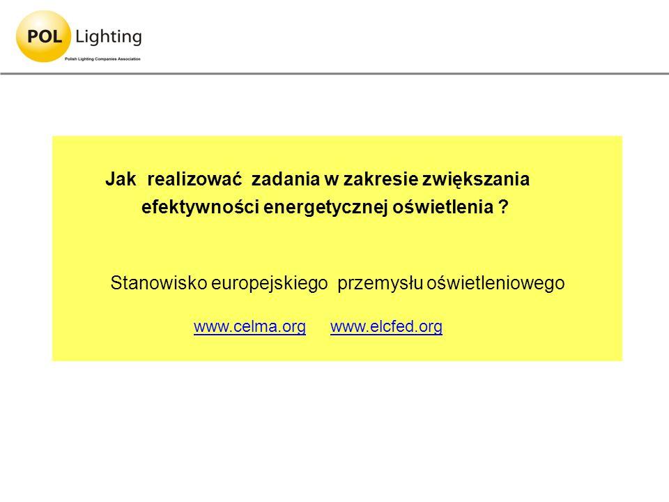 Jak realizować zadania w zakresie zwiększania efektywności energetycznej oświetlenia ? Stanowisko europejskiego przemysłu oświetleniowego www.celma.or