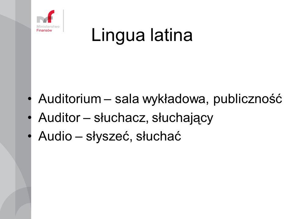 Lingua latina Auditorium – sala wykładowa, publiczność Auditor – słuchacz, słuchający Audio – słyszeć, słuchać