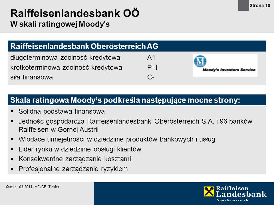 Strona 10 Raiffeisenlandesbank OÖ W skali ratingowej Moody's Skala ratingowa Moodys podkreśla następujące mocne strony: Solidna podstawa finansowa Jed