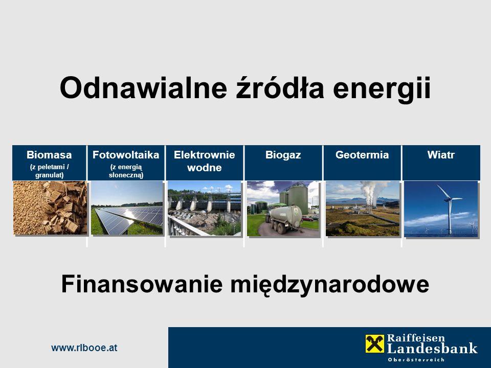 www.rlbooe.at Odnawialne źródła energii Finansowanie międzynarodowe Biomasa (z peletami / granulat) Fotowoltaika (z energią słoneczną) Elektrownie wod