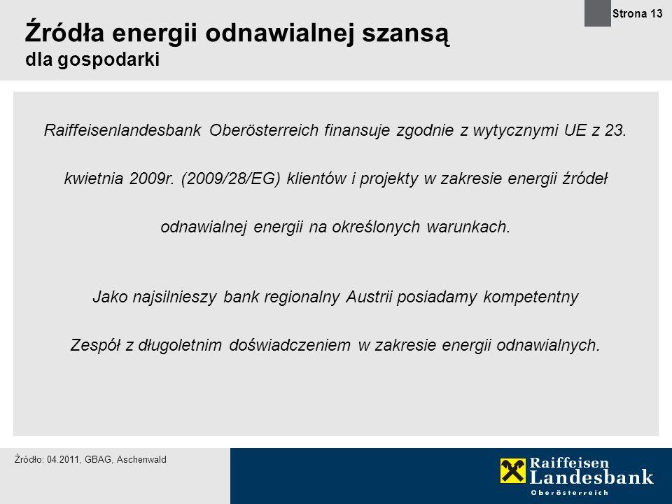 Strona 13 Raiffeisenlandesbank Oberösterreich finansuje zgodnie z wytycznymi UE z 23. kwietnia 2009r. (2009/28/EG) klientów i projekty w zakresie ener
