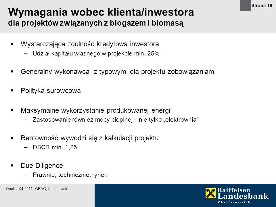 Strona 18 Wymagania wobec klienta/inwestora dla projektów związanych z biogazem i biomasą Wystarczająca zdolność kredytowa inwestora –Udział kapitału