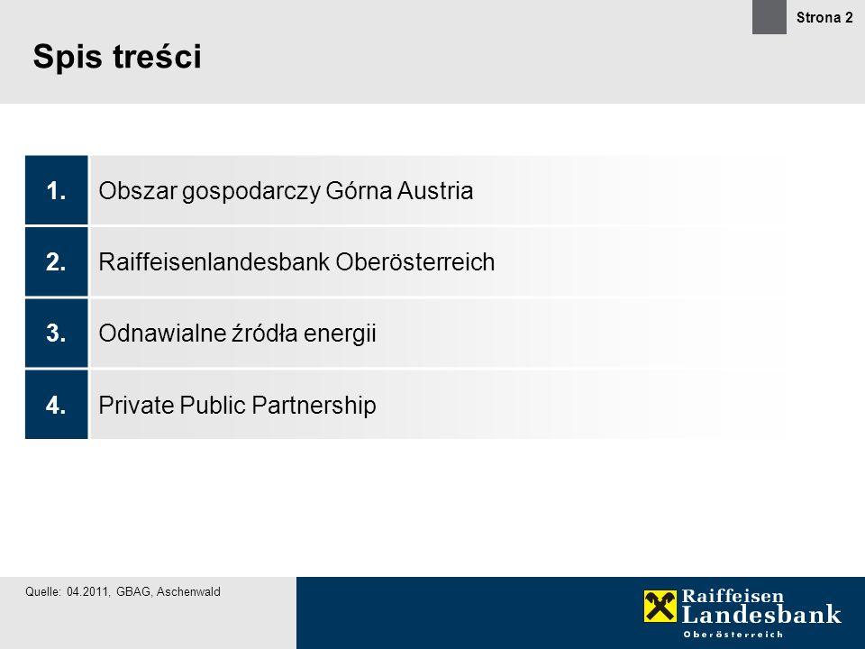 Strona 2 Spis treści Quelle: 04.2011, GBAG, Aschenwald 1.Obszar gospodarczy Górna Austria 2.Raiffeisenlandesbank Oberösterreich 3.Odnawialne źródła en