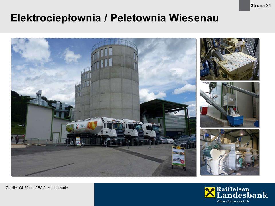 Strona 21 Elektrociepłownia / Peletownia Wiesenau Źródło: 04.2011, GBAG, Aschenwald