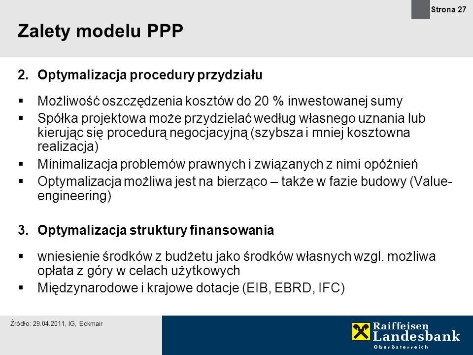 Strona 27 Zalety modelu PPP 2.Optymalizacja procedury przydziału Możliwość oszczędzenia kosztów do 20 % inwestowanej sumy Spółka projektowa może przyd