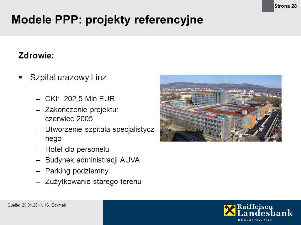 Strona 28 Zdrowie: Szpital urazowy Linz –CKI: 202,5 Mln EUR –Zakończenie projektu: czerwiec 2005 –Utworzenie szpitala specjalistycz- nego –Hotel dla p