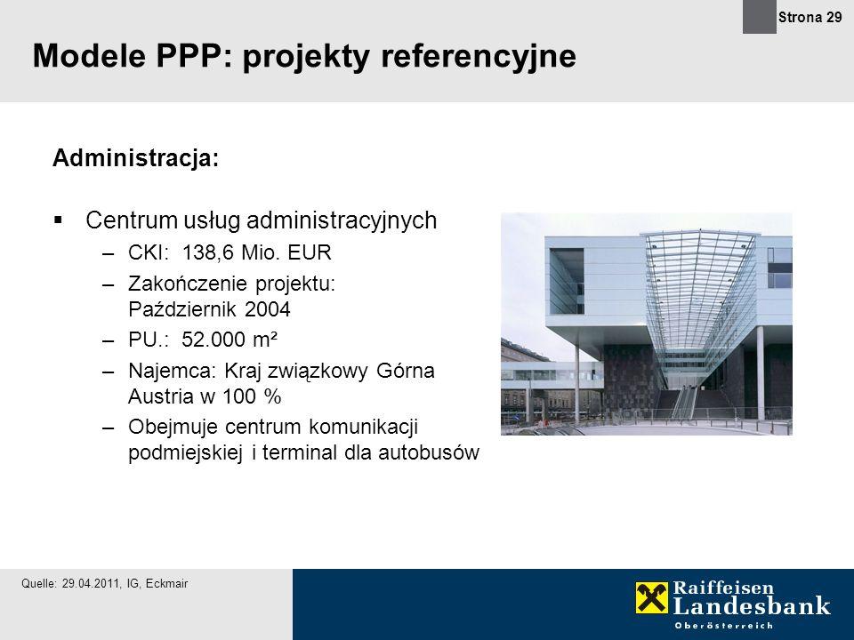 Strona 29 Administracja: Centrum usług administracyjnych –CKI: 138,6 Mio. EUR –Zakończenie projektu: Październik 2004 –PU.: 52.000 m² –Najemca: Kraj z