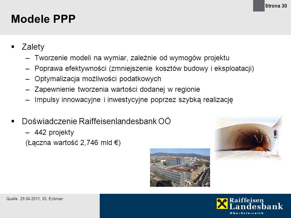 Strona 30 Modele PPP Zalety –Tworzenie modeli na wymiar, zależnie od wymogów projektu –Poprawa efektywności (zmniejszenie kosztów budowy i eksploatacj