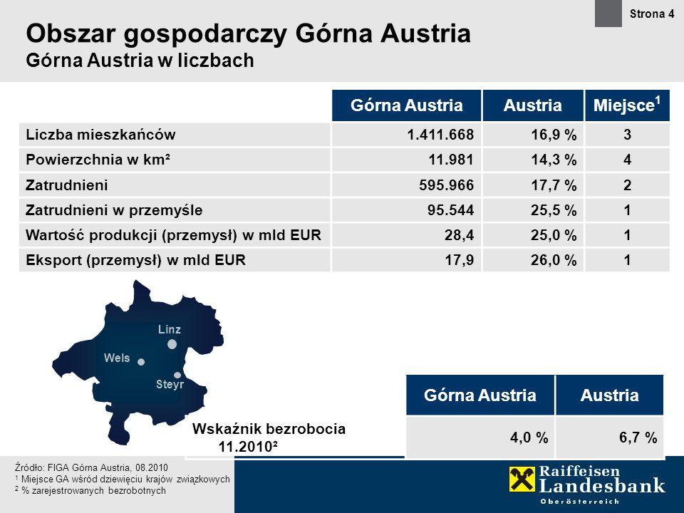 Strona 4 Obszar gospodarczy Górna Austria Górna Austria w liczbach Górna AustriaAustriaMiejsce 1 Liczba mieszkańców1.411.66816,9 %3 Powierzchnia w km²