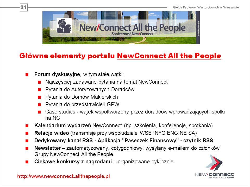 21 Główne elementy portalu NewConnect All the People Forum dyskusyjne, w tym stałe wątki: Najczęściej zadawane pytania na temat NewConnect Pytania do Autoryzowanych Doradców Pytania do Domów Maklerskich Pytania do przedstawicieli GPW Case studies - wątek współtworzony przez doradców wprowadzających spółki na NC Kalendarium wydarzeń NewConnect (np.