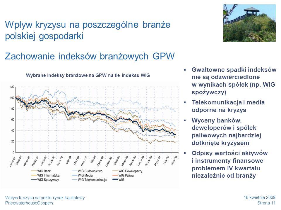 PricewaterhouseCoopers 16 kwietnia 2009 Strona 11 Wpływ kryzysu na polski rynek kapitałowy Wpływ kryzysu na poszczególne branże polskiej gospodarki Za
