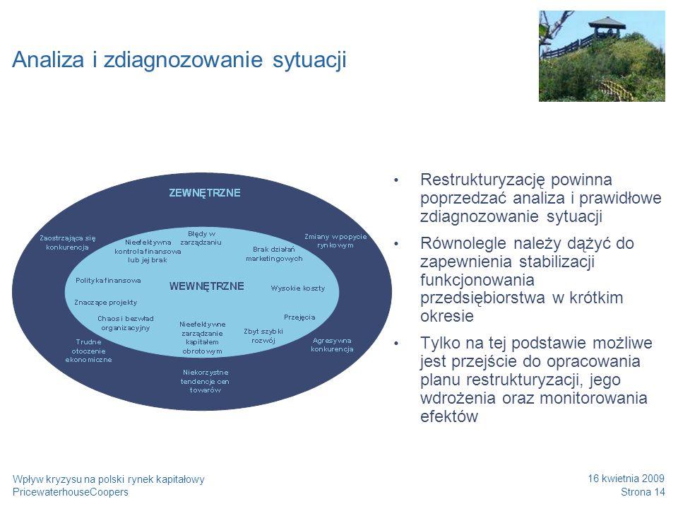 PricewaterhouseCoopers 16 kwietnia 2009 Strona 14 Wpływ kryzysu na polski rynek kapitałowy Analiza i zdiagnozowanie sytuacji Restrukturyzację powinna