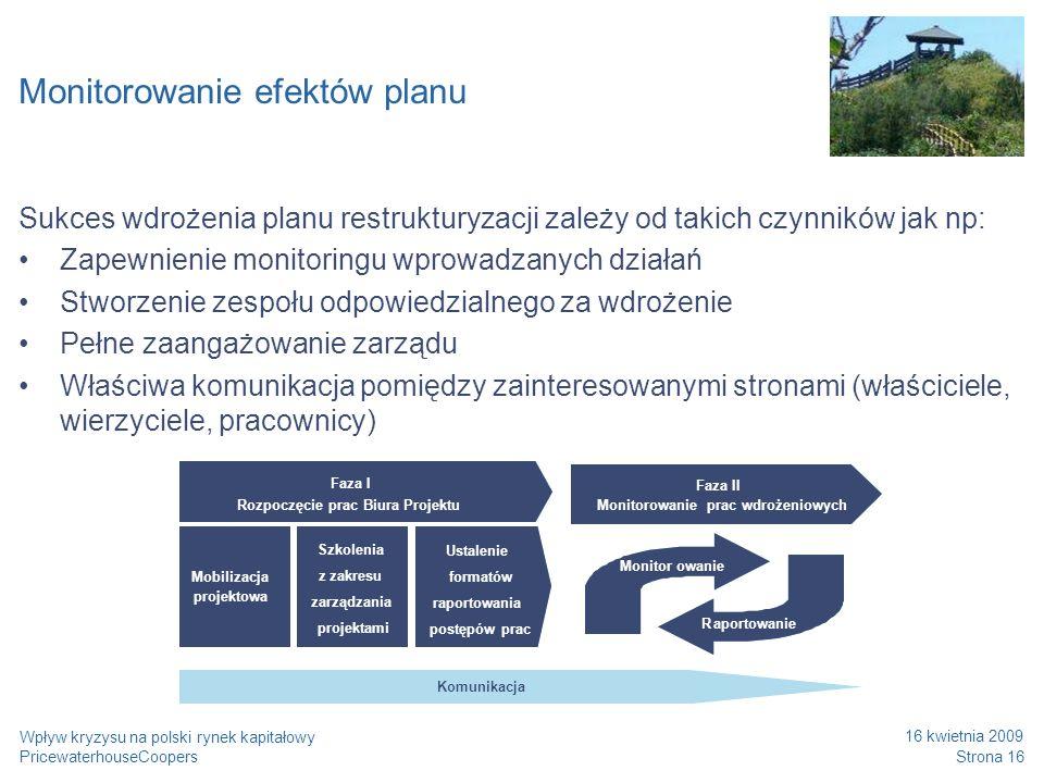 PricewaterhouseCoopers 16 kwietnia 2009 Strona 16 Wpływ kryzysu na polski rynek kapitałowy Monitorowanie efektów planu Sukces wdrożenia planu restrukt