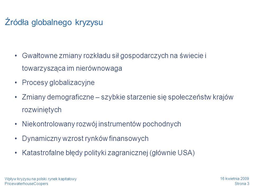 Dotychczasowy wpływ kryzysu na polską gospodarkę Strona 4 Wpływ kryzysu na polski rynek kapitałowy PricewaterhouseCoopers 16 kwietnia 2009 negatywny wpływ na giełdę spadający eksport - aktualny udział eksportu w PKB – 40% zmniejszenie napływu inwestycji zagranicznych: relacja skumulowanego zasobu bezpośrednich inwestycji zagranicznych do PKB – 35% kłopoty na rynku międzybankowym utrudniony dostęp do przedsiębiorstw do kredytów słabsze tempo wzrostu gospodarczego – ostatni kwartał 2008 – 2,9% obniżenie produkcji przemysłowej:styczeń 2009 - o 15% mniej w stosunku do sytuacji sprzed roku; wzrost bezrobocia