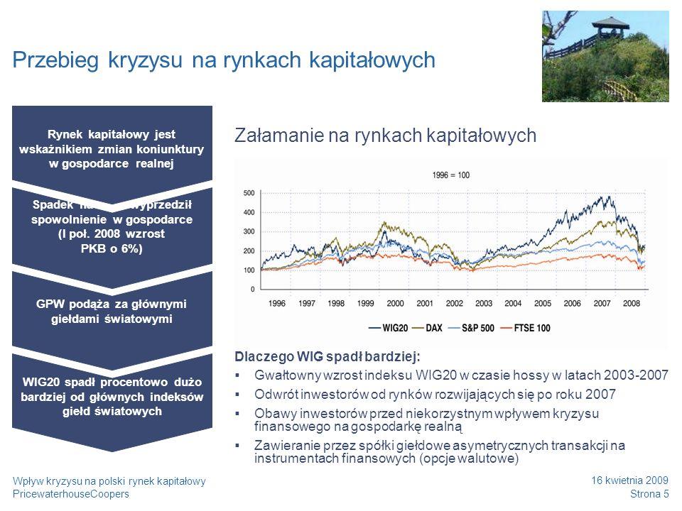 PricewaterhouseCoopers 16 kwietnia 2009 Strona 16 Wpływ kryzysu na polski rynek kapitałowy Monitorowanie efektów planu Sukces wdrożenia planu restrukturyzacji zależy od takich czynników jak np: Zapewnienie monitoringu wprowadzanych działań Stworzenie zespołu odpowiedzialnego za wdrożenie Pełne zaangażowanie zarządu Właściwa komunikacja pomiędzy zainteresowanymi stronami (właściciele, wierzyciele, pracownicy) Monitorowanie Raportowanie Mobilizacja projektowa Faza II Monitorowanie prac wdrożeniowych Faza I Rozpoczęcie prac Biura Projektu Szkolenia z zakresu zarządzania projektami Ustalenie formatów raportowania postępów prac Komunikacja