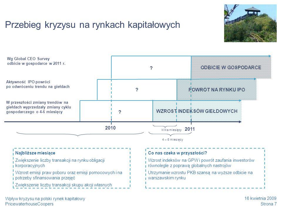 PricewaterhouseCoopers 16 kwietnia 2009 Strona 8 Wpływ kryzysu na polski rynek kapitałowy Wcześniejsze kryzysy i potencjalne wskazówki dla polskiego rynku Wpływ recesji lat 90.