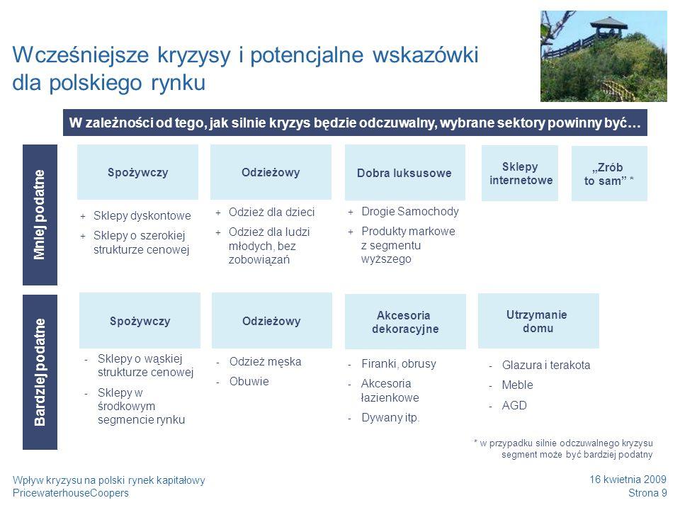 PricewaterhouseCoopers 16 kwietnia 2009 Strona 10 Wpływ kryzysu na polski rynek kapitałowy Wcześniejsze kryzysy i potencjalne wskazówki dla polskiego rynku Analiza korelacji wybranych sektorów i dynamiki PKB w Polsce