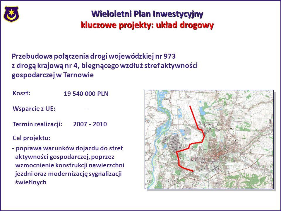 Wieloletni Plan Inwestycyjny kluczowe projekty: układ drogowy Przebudowa połączenia drogi wojewódzkiej nr 973 z drogą krajową nr 4, biegnącego wzdłuż