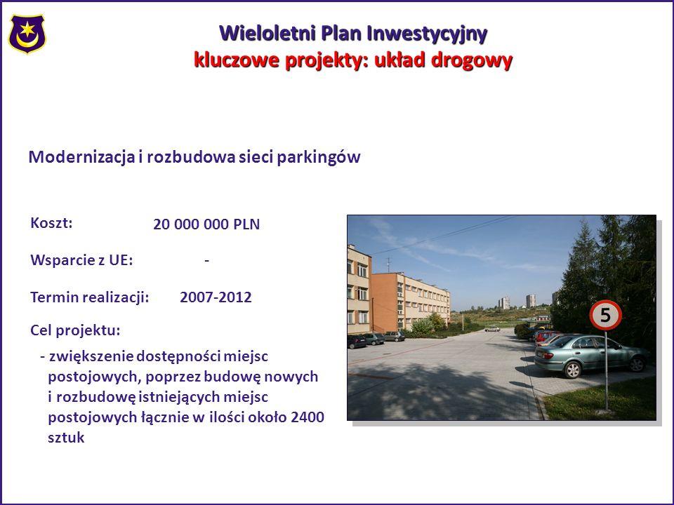 Wieloletni Plan Inwestycyjny kluczowe projekty: układ drogowy Modernizacja i rozbudowa sieci parkingów Koszt: 20 000 000 PLN Wsparcie z UE:- 2007-2012