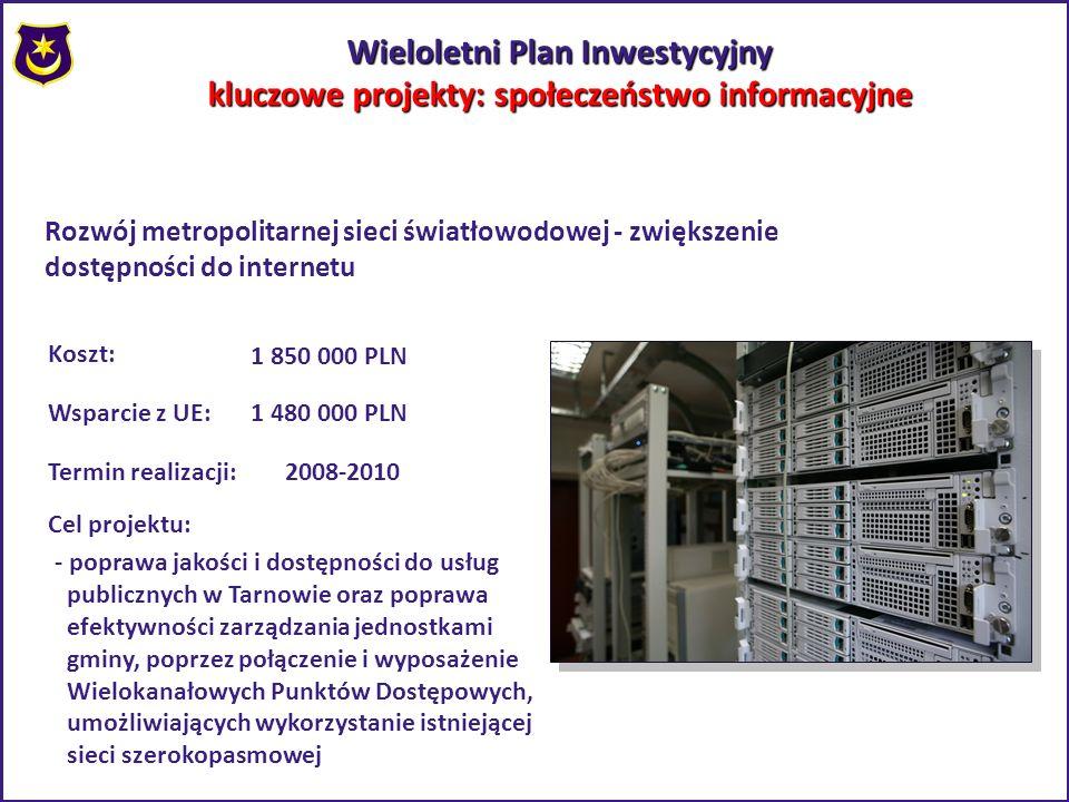 Wieloletni Plan Inwestycyjny kluczowe projekty: społeczeństwo informacyjne Rozwój metropolitarnej sieci światłowodowej - zwiększenie dostępności do in