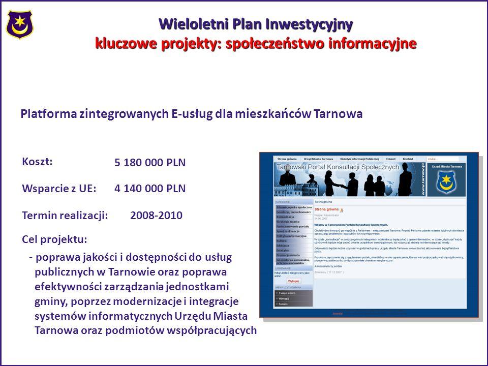 Wieloletni Plan Inwestycyjny kluczowe projekty: społeczeństwo informacyjne Platforma zintegrowanych E-usług dla mieszkańców Tarnowa Koszt: 5 180 000 P