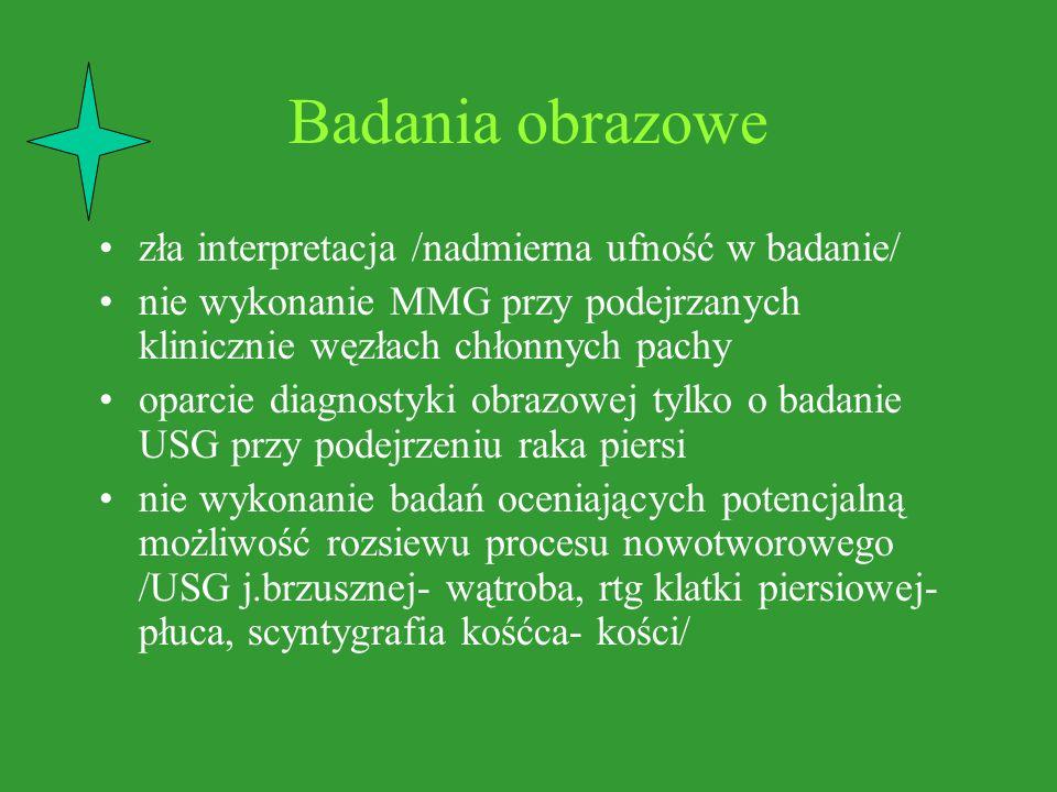 Badania obrazowe zła interpretacja /nadmierna ufność w badanie/ nie wykonanie MMG przy podejrzanych klinicznie węzłach chłonnych pachy oparcie diagnos
