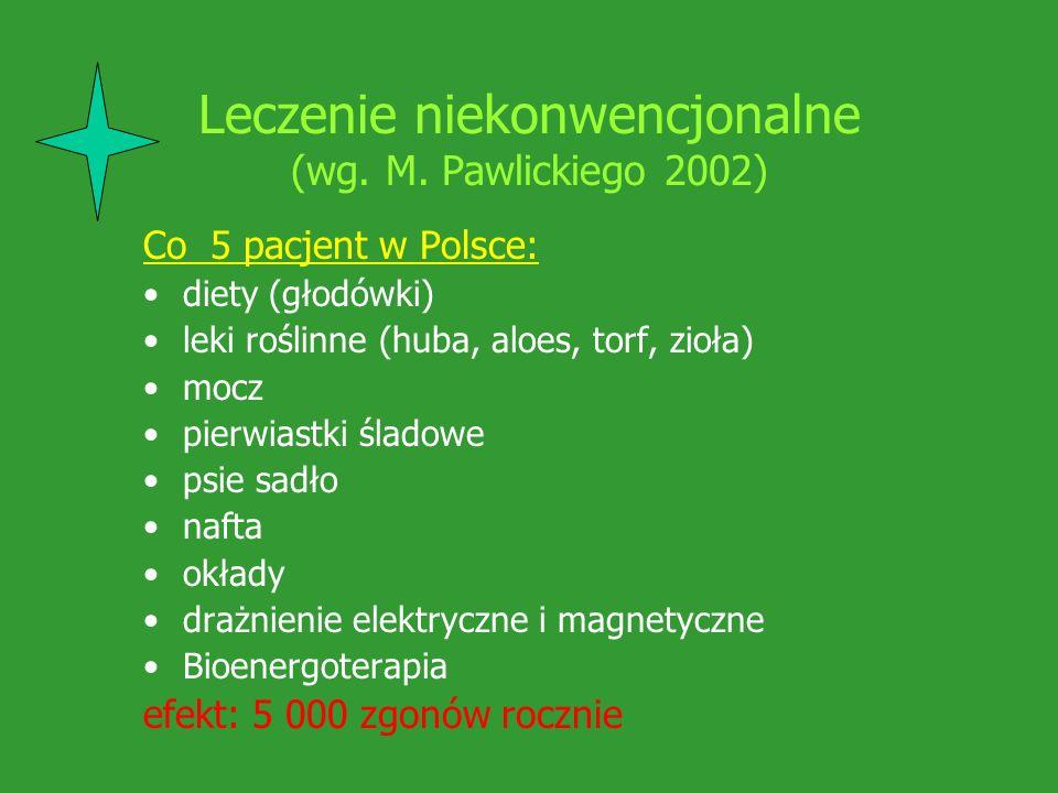 Leczenie niekonwencjonalne (wg. M. Pawlickiego 2002) Co 5 pacjent w Polsce: diety (głodówki) leki roślinne (huba, aloes, torf, zioła) mocz pierwiastki
