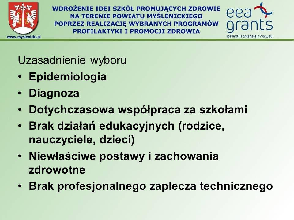 Uzasadnienie wyboru Epidemiologia Diagnoza Dotychczasowa współpraca za szkołami Brak działań edukacyjnych (rodzice, nauczyciele, dzieci) Niewłaściwe p