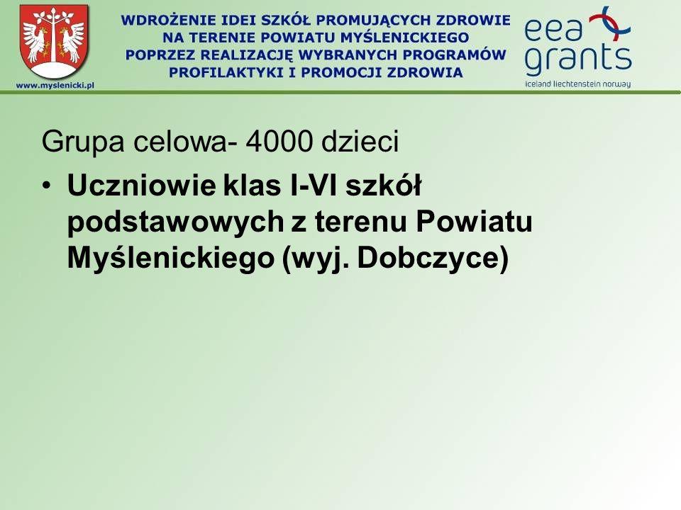 Grupa celowa- 4000 dzieci Uczniowie klas I-VI szkół podstawowych z terenu Powiatu Myślenickiego (wyj. Dobczyce)