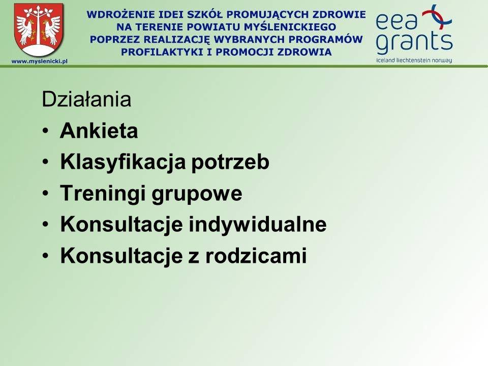 Działania Ankieta Klasyfikacja potrzeb Treningi grupowe Konsultacje indywidualne Konsultacje z rodzicami